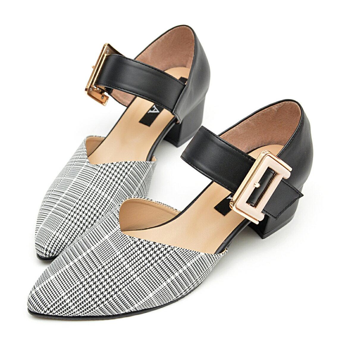 尖頭鞋 時尚大金扣千鳥格低跟鞋-黑紋