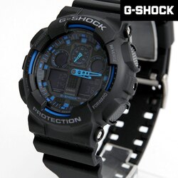 G-SHOCK 黑藍大錶框雙顯手錶 柒彩年代【NECG22】casio