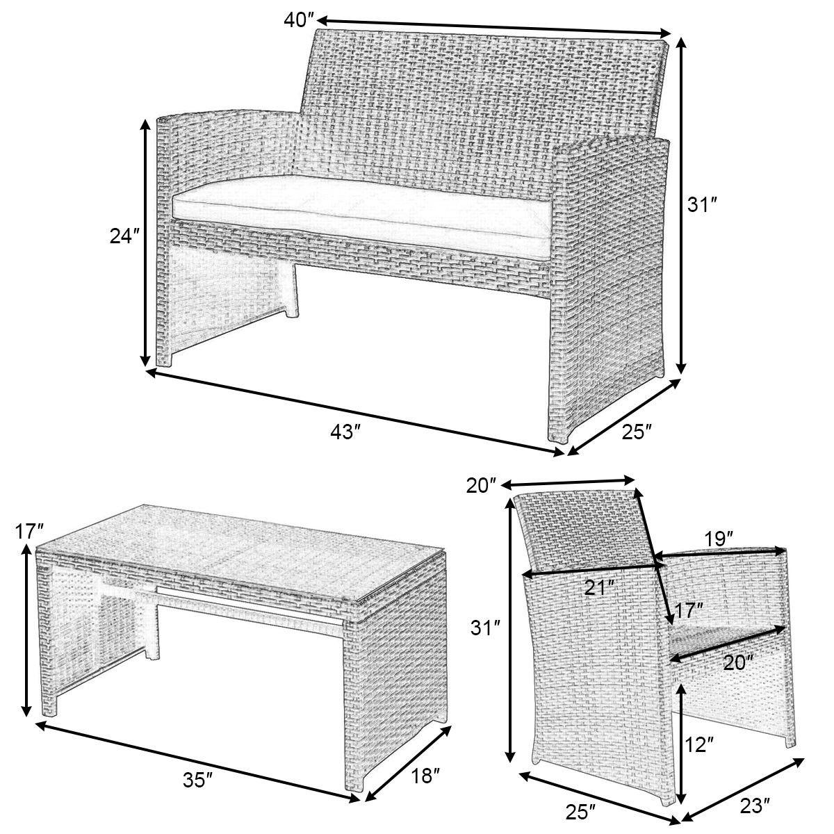 Costway 4 Pc Rattan Patio Furniture Set Garden Lawn Sofa Wicker Cushioned Seat Black 2