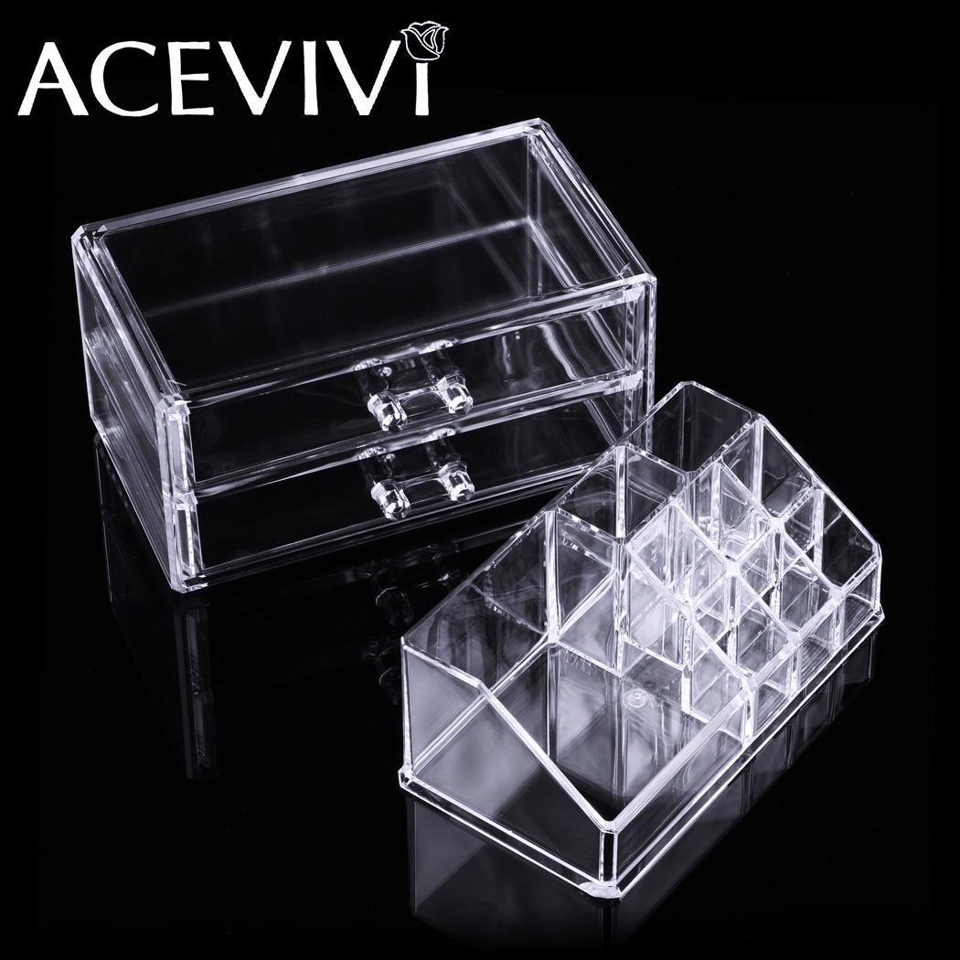 Acrylic Cosmetic Drawers Grids 2 Tiers Storage 2