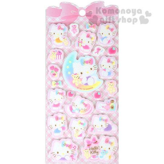 〔小禮堂〕Hello Kitty 立體 毛氈貼紙~粉斜格紋.月亮.多動作~
