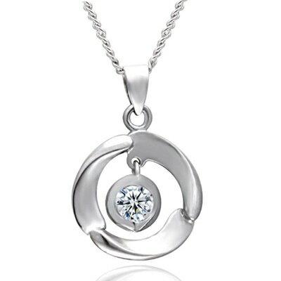 925純銀項鍊 鑲鑽吊墜~大方 簡潔亮眼母親節情人節生日 女飾品73dk20~ ~~米蘭
