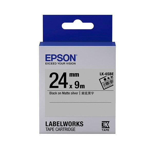 EPSON 愛普生 LK-6SBE C53S656409標籤帶(資產24mm )銀黑 銀底黑字