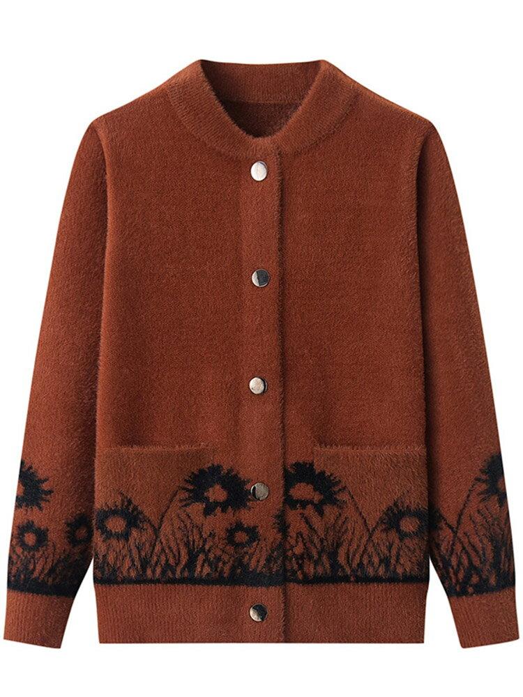 中老年仿水貂絨外套女媽媽裝60-70歲毛衣秋冬裝短款中年針織開衫