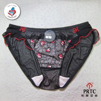 【帕爾堤絲 台灣精品內衣】 紅櫻紛飛 漸層刺繡單件內褲(豔花黑ML)