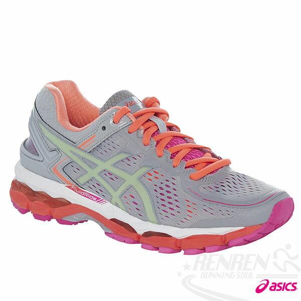 ASICS亞瑟士 女慢跑鞋 (灰*橘) GEL-KAYANO 22(D) 高支撐