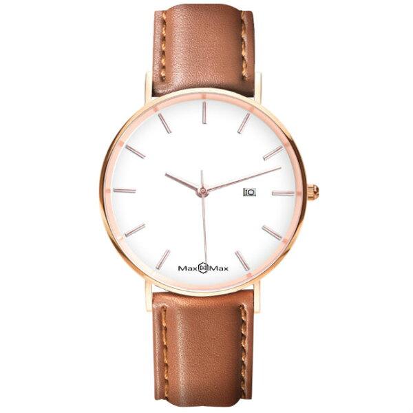 MaxMaxMAS7020-1質感極簡風皮革腕表錶-咖啡38mm