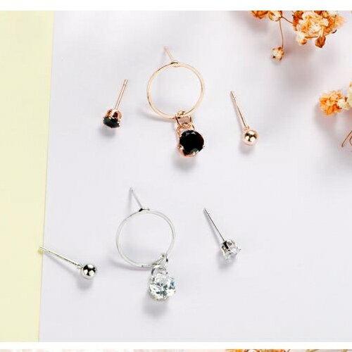 光輝幾何鑽石組合防敏鋼針耳環2色♥(3件1組) X RUNWAY FASHION ICON