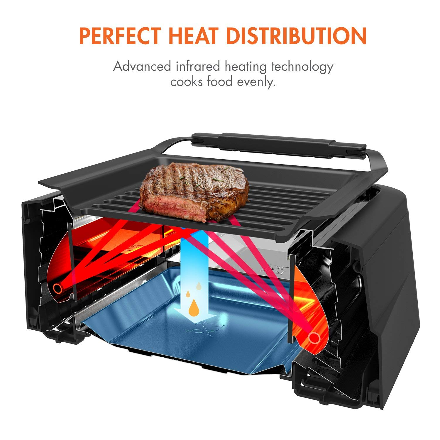 Tenergy Redigrill Smoke Less Infrared Grill Indoor Heating Electric Tabletop