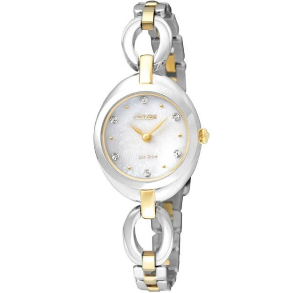 CITIZEN星辰 EX1434-55D 優雅時尚手環光動能腕錶/珍珠母貝面23*29mm