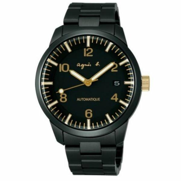agnes b Y675-00J0G(BK9010J1)黑金背透時尚機械腕錶/黑面40mm