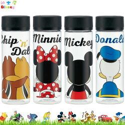 迪士尼 米奇米妮唐老鴨奇奇蒂蒂 塑膠水壺 瓶子 水瓶 隨身瓶 透明瓶身 400ml 日本進口正版 375590