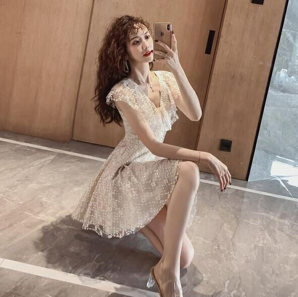 洋裝 V領 裙子S-XL新款氣質egg法式桔梗初戀裙a字連身裙T235-2291.