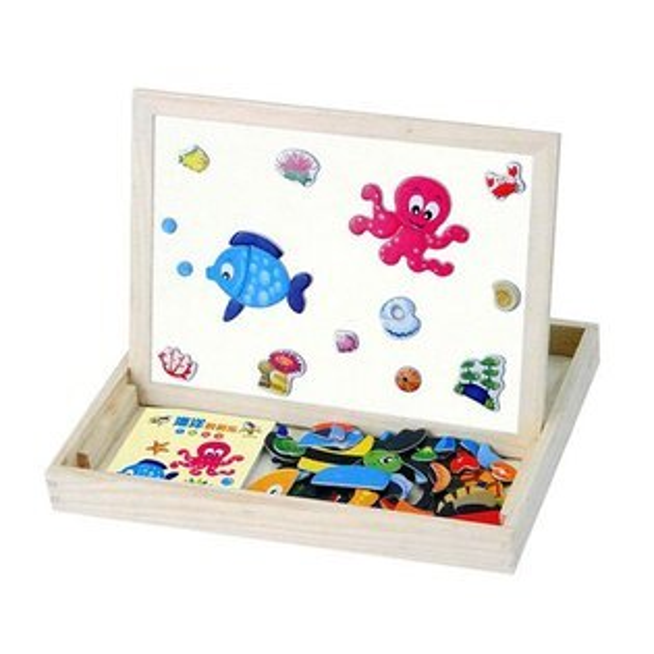 【888便利購】MWZ木製盒裝海洋動物磁貼遊戲組(黑板+白板功能)(2050)