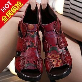 黑色352016夏民族風真皮魚嘴女印花媽媽涼靴子鏤空洞洞鞋松糕厚底涼鞋潮