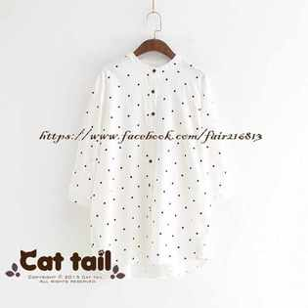 《貓尾巴》LZ-02973簡約點點印花短袖襯衫(森林系日系棉麻文青清新)