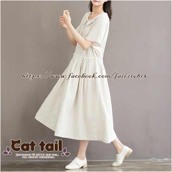 《貓尾巴》CH-01881日系文藝豎條紋短袖連身裙(森林系日系棉麻文青清新)