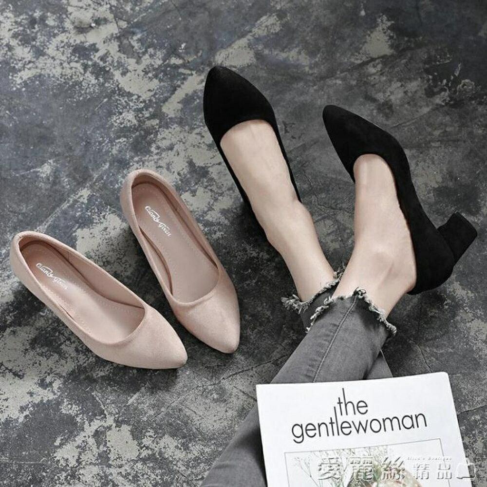 高跟鞋新款粗跟小碼33黑色絨面單鞋女淺口尖頭面試工作中跟職業鞋 清涼一夏钜惠