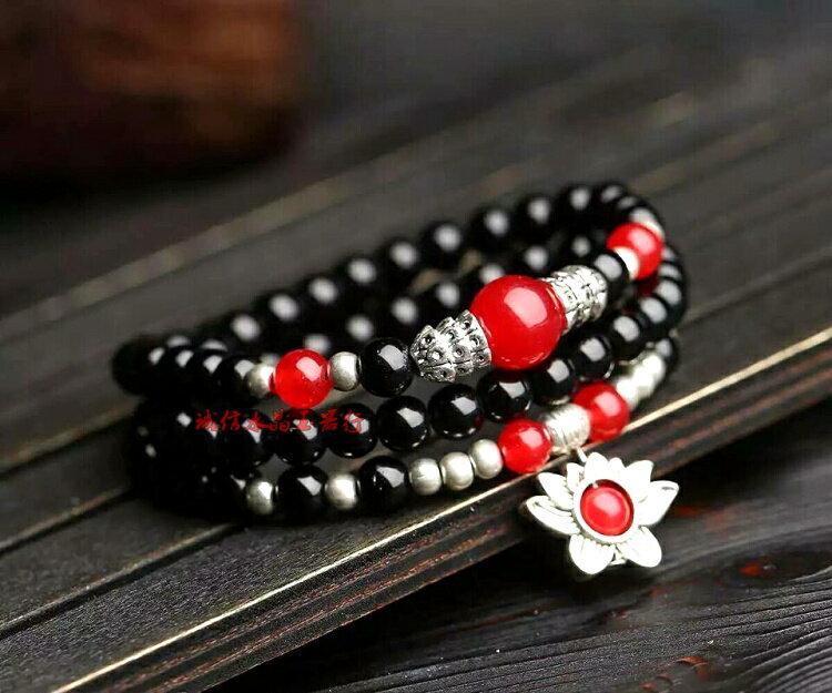 天然黑瑪瑙手鏈男女款純天然手串佛珠藏銀手飾 情侶水晶手鏈飾品
