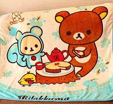 =優生活=《 促銷期間$499 》拉拉熊 懶懶熊粉色下午茶系列法蘭絨 空調毯 午休毯子 新生兒毯子 幼兒園毯子 兩色
