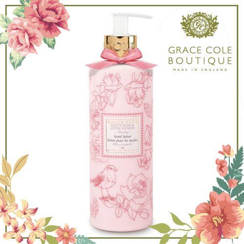 英國 Grace Cole Boutique 葛瑞絲 白玫瑰睡蓮 身體乳 500ml 贈葛瑞絲去角質240ml(香味隨機)★BELLE 倍莉小舖★
