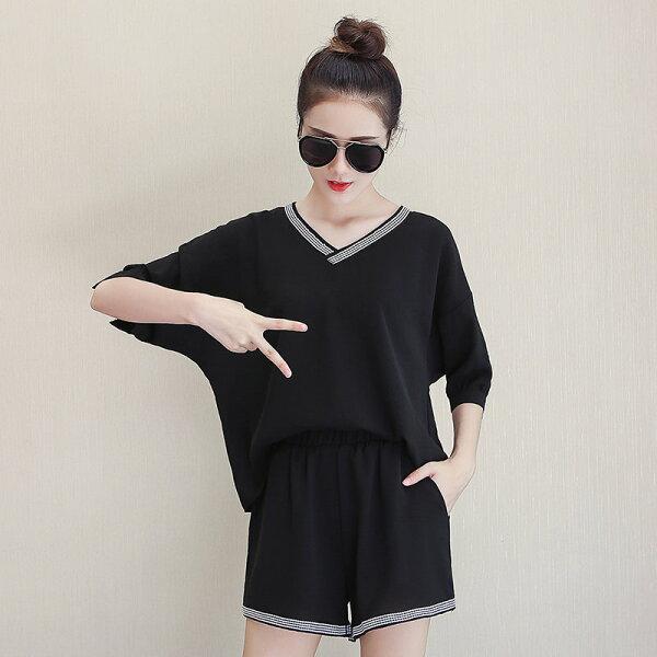 FINDSENSE G5 韓國時尚 夏季 新款 大尺碼 寬鬆 休閒 兩件套 黑色 短褲 T恤 套裝