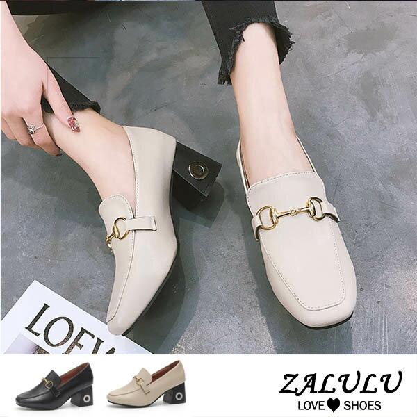 ZALULU愛鞋館 7CE096 預購 韓版復古款高跟金屬鍊包鞋-偏小-黑/米-35-39