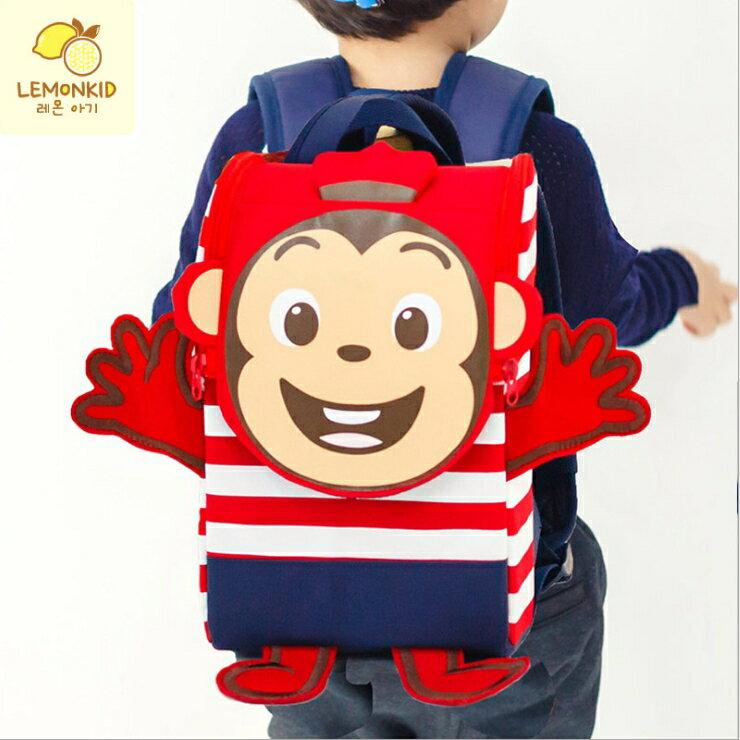 Lemonkid◆可愛立體抗壓條紋動物猴子兔子兒童書包雙肩包後背包-小猴