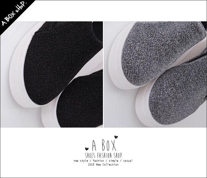 格子舖*【AS582】摩登新款優質 奢華低調金蔥帆布 圓頭厚底包鞋 懶人鞋 樂福鞋 鬆糕鞋 2色 2