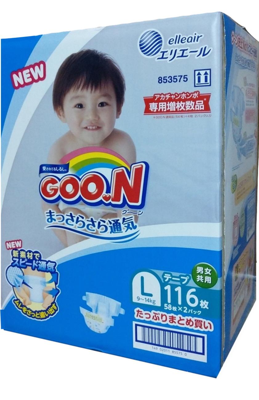 日本大王【GOON】境內彩盒版(增枚) 尿布 L 58片*2包 / 箱(116片) 1