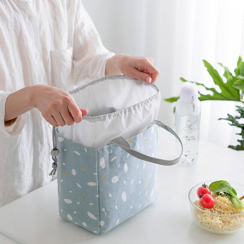 [現貨在台]暖日落雪 束口便當袋 拉鍊便當袋 保溫袋 保冷袋 鋁箔袋 棉麻 手提袋 野餐袋 便當袋【RB589】