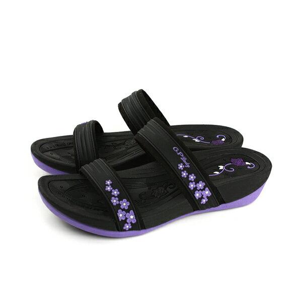 GP(Gold.Pigon)阿亮代言涼鞋拖鞋女鞋防水雨天黑紫G8527W-41no901