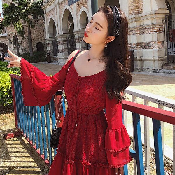 PSMall紅色蕾絲海邊度假海灘連身裙洋裝【T2353】