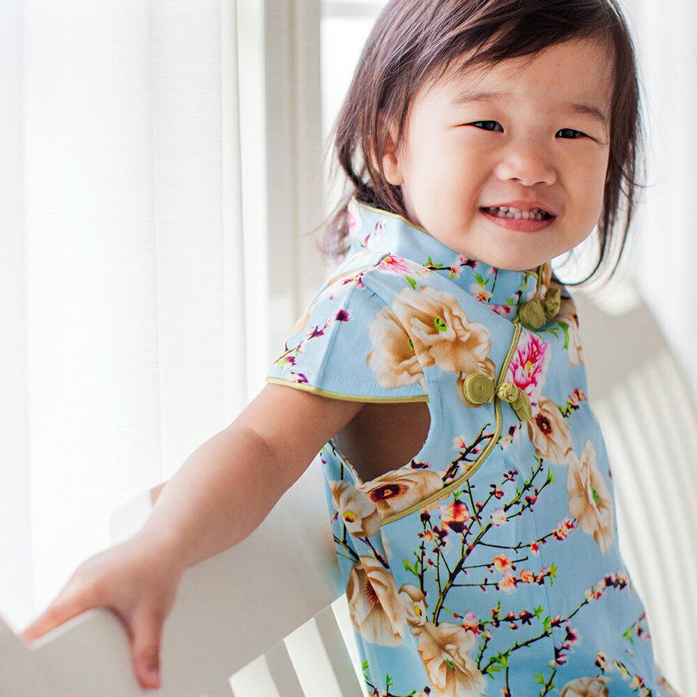 【西村媽媽】經典古風旗袍-秋季 淺藍款