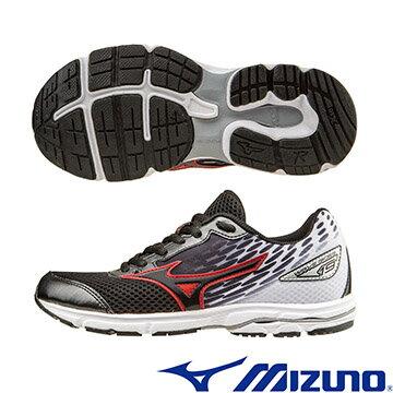 K1GC162509(黑X黑X白)WAVE RIDER19 Jr. 一般型大童鞋 A【美津濃MIZUNO】
