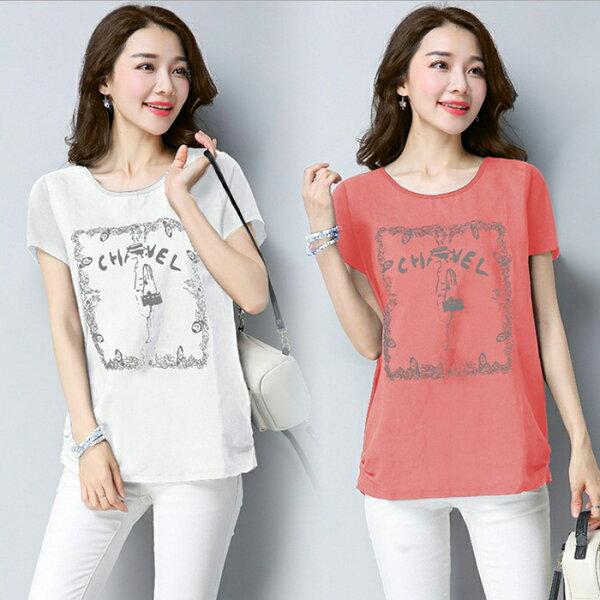 糖衣子輕鬆購【GH1606】韓版時尚印花百搭寬鬆圓領棉麻上衣