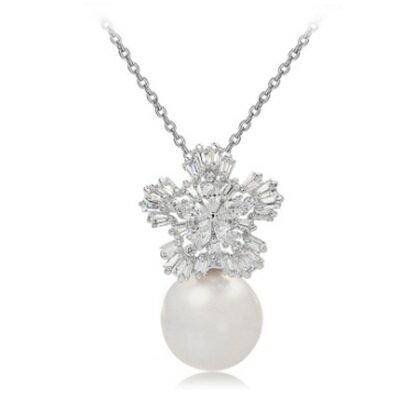 ~925純銀項鍊 鍍白金鑲鑽吊墜~煙花燦爛珍珠 情人節生日 女飾品73ct31~ ~~米蘭