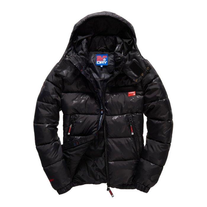 美國百分百【全新真品】Superdry 極度乾燥 Puffer 風衣 連帽 外套 防風 夾克 黑迷彩 S號 H721