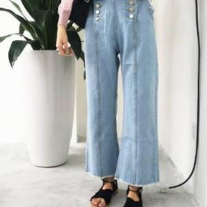 美麗大街【KB11】 春季新款百搭韓國雙排扣闊腿牛仔褲淺色洗水牛仔闊腿褲