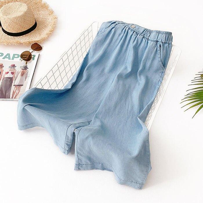 七分褲 素色 寬管褲 垂墜感 薄款 鈕扣 裝飾 鬆緊腰 七分褲【HA821】 BOBI  05 / 30 4