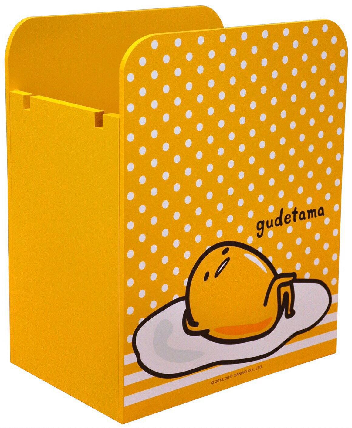 【真愛日本】17042700022 木製多功能書報置物盒-GU 三麗鷗 蛋黃哥(????)木製 收納櫃 置物架