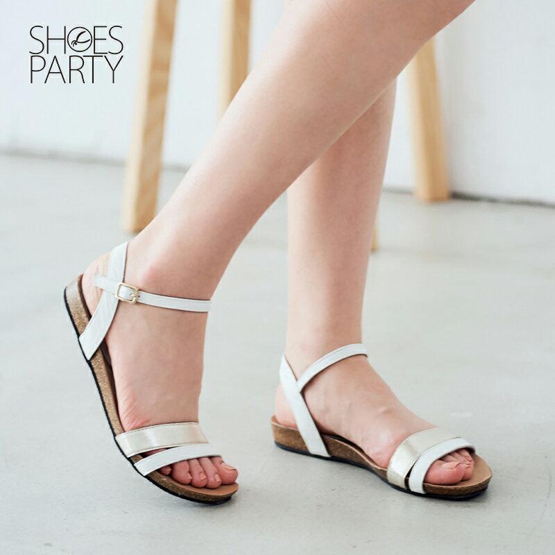 【S2-17324L】服貼牛皮底撞色雙帶涼鞋_Shoes Party 2
