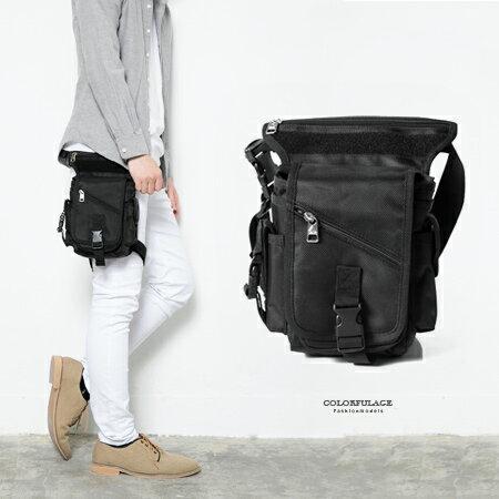 重機包 時尚全黑造型運動風腿包 防潑水設計 多夾層收納空間 柒彩年代【NZ463】型男街頭 0