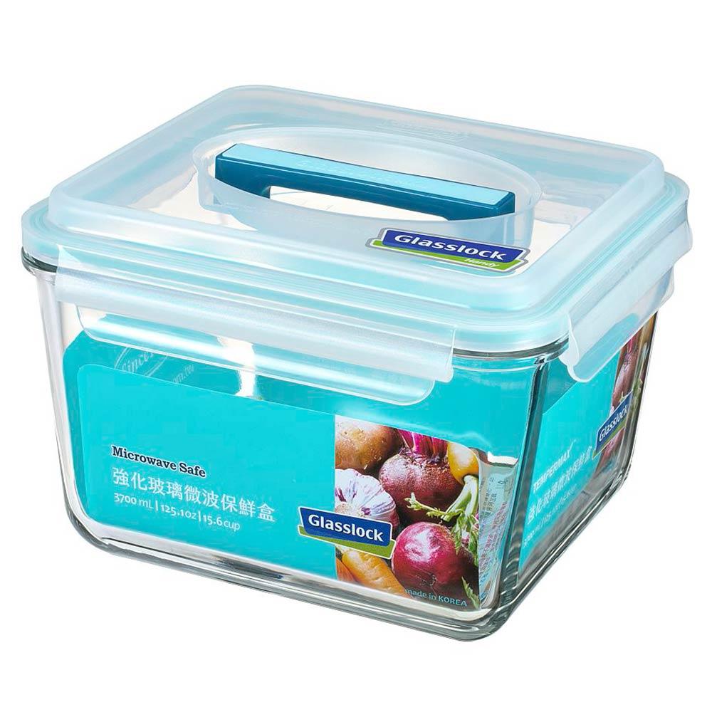 Glasslock 附提把手提強化玻璃保鮮盒- 3700ml/韓國製造/可微波/野餐手提款/耐瞬間溫差120度/減塑餐盒 1