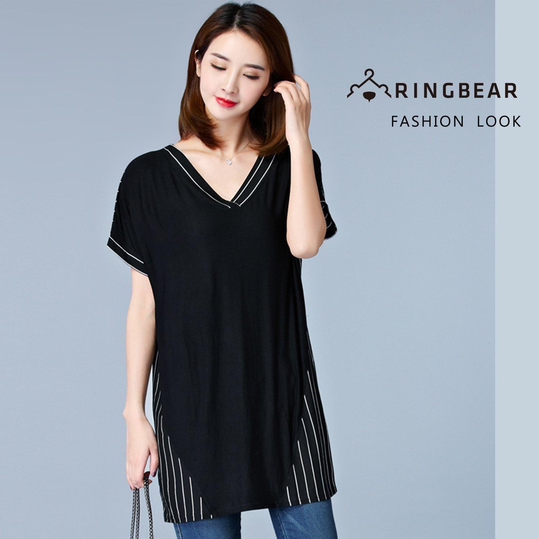 長版上衣--雅致清新個性風撞色條紋拼接寬鬆修身深V短袖長上衣(黑M-2L)-U535眼圈熊中大尺碼 0