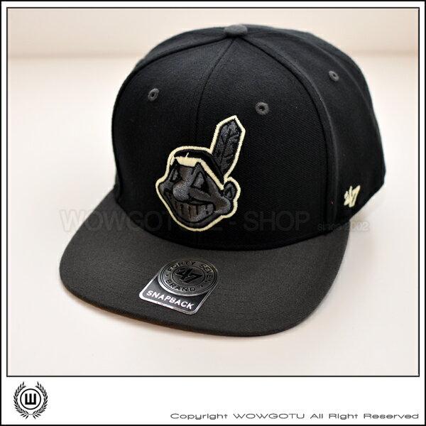 美國品牌 47 Brand - MLB 印地安人隊 夜光繡線 SNAPBACK 帽款