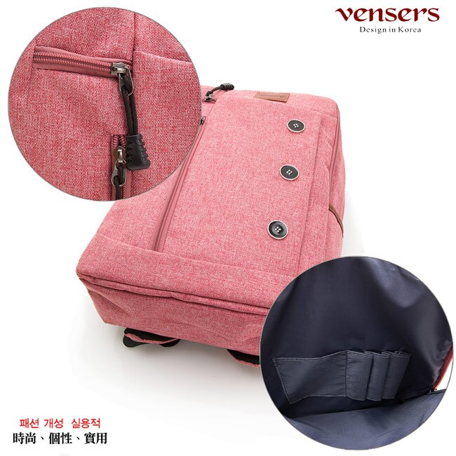 【vensers】簡約丹寧牛仔後背包(R00061605粉色) 5