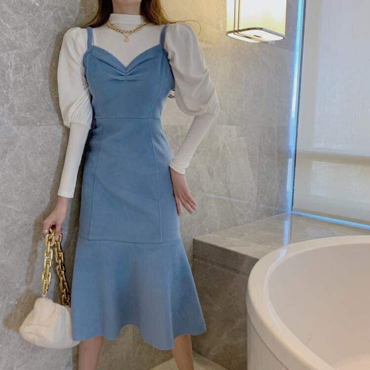 吊带洋裝女春秋2021年新款气质性感收腰显瘦鱼尾裙中长款裙子潮