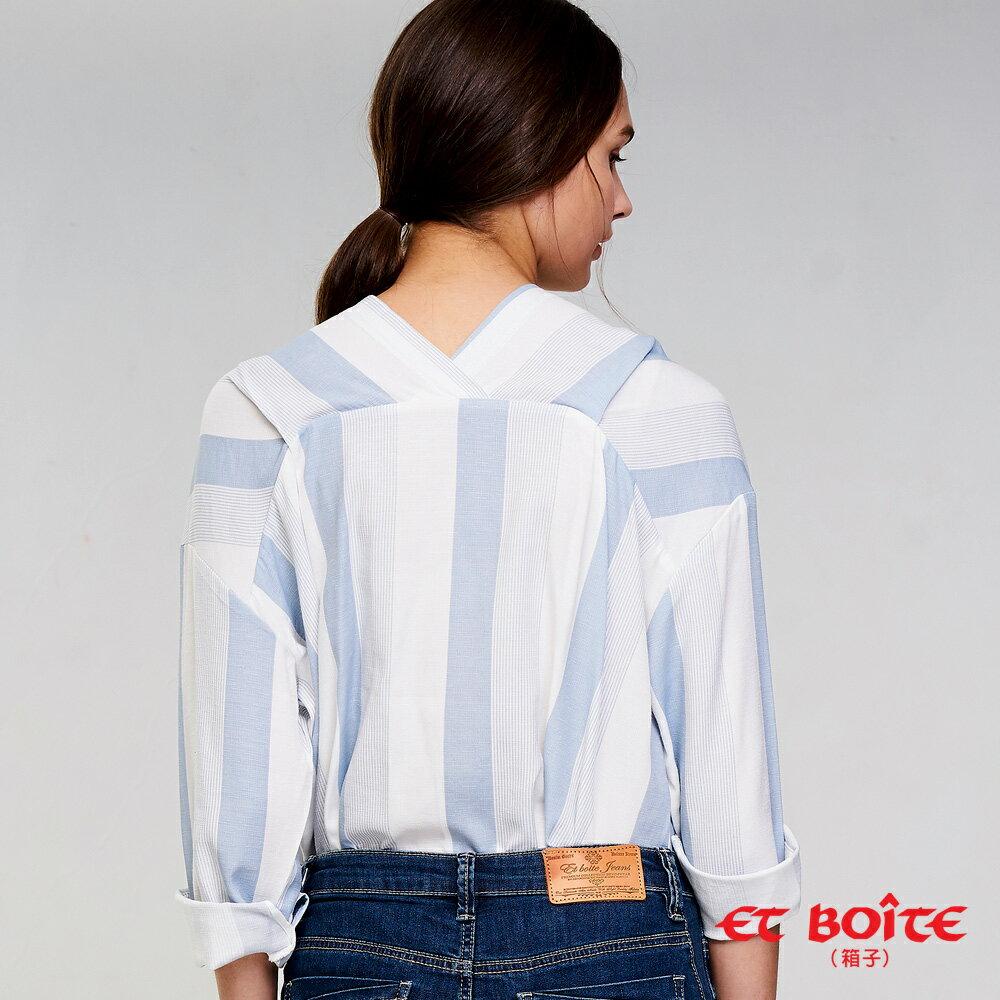 【雙12 SUPER SALE整點特賣12 / 13 17:00準時開搶】條紋V領亞麻襯衫(藍) - BLUE WAY  ET BOiTE 箱子 2