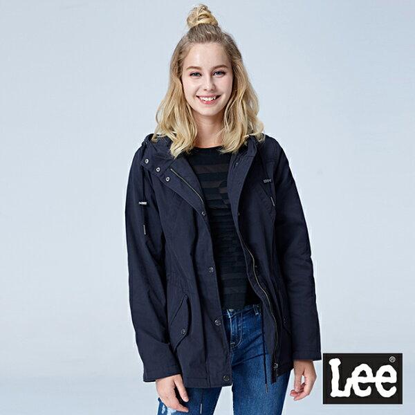 Lee腰部抽繩連帽外套-黑色
